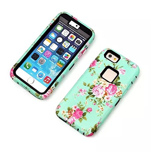 iPhone 6 4.7 Inch Phone Cases, Vogue Shop Beautiful Design 3in1 Hybrid Case Cover for Iphone 6. Peony Flower Hard Cover for iPhone 6 Three Layer Elegant Floral Flower Printed Design Plastic Hybrid High Impact Defender Case Combo Hard Cases Covers Scratchproof Dustproof Shockproof Durable Hybrid High Impact Hard Hot Pink Floral in Mint Green Pattern Silicone Armor Case Cover for iPhone 6 (Three Month Warranty) (black)