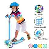 67i Scooters for Kids Scooters 3 Wheel for Toddler Scooter for Girls Boys 4 Adjustable Height Lean to Steer with Wide Deck PU Flashing Wheels for Children 3 to 12 Years Old