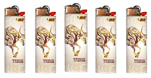 Bic Horoscope Lighters Taurus 5 Pack Collectable Design