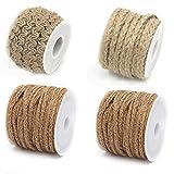 Yalulu 4Pcs Nature Burlap Twine Twisted Jute String Hemp Rope Gift Twine for Arts Crafts Gardening Wedding DIY Decoration