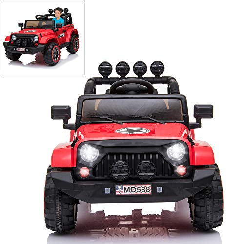 Electric Ride On Car for Kids with Facelift Grille, 12V 2 Motors, 2.4G Remote Control, Spring Suspension, LED Light & MP3 Socket, Openable Door, Parental Pull Handle - Red