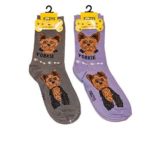 Foozys Unisex Crew Socks   Canine/Dog Collection   Yorkie