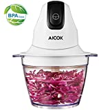 Aicok Food Chopper, Small Food Processor, 3 Cup Electric Mini Food Chopper with BPA-Free Bowl, Onion Chopper with 4 Stainless Stell Blades, White