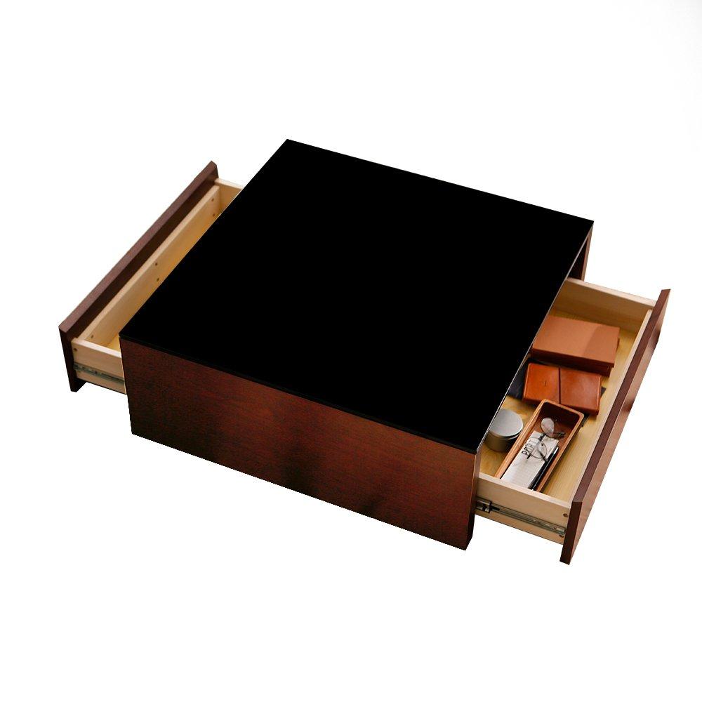 LOWYA (ロウヤ) リビングテーブル ローテーブル 引き出し2杯付き 天然木 木製 ブラックガラス天板 PU塗装 ウォルナット おしゃれ 新生活 B01CJEU1DA
