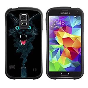 Hybrid Anti-Shock Bumper Case for Samsung Galaxy S5 / Cool Ink Cat Abstract Painting