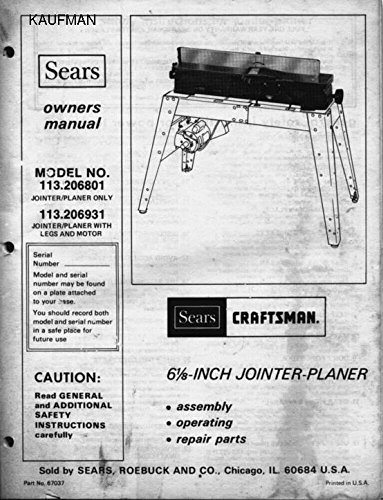- 1979 Craftsman 113.206931 & 113.206801 6 1/8