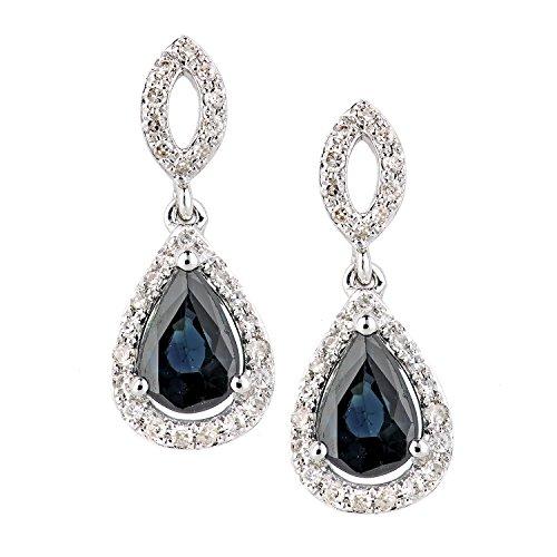 Revoni Bague en or blanc-18carats Saphir et Diamant Ovale Boucles d'oreilles pendantes