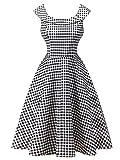 FEOYA Ladies Sleeveless Retro Boat Neck Swing Dress for Women (Black & White, US M=Tag Asian XL)