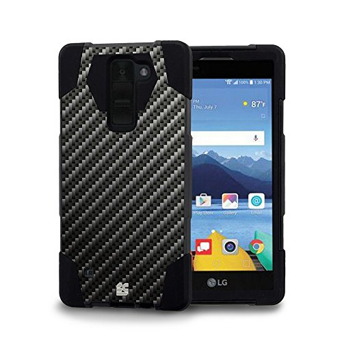 LG K8 V (Verizon) - [Carbon Fiber] Premium Dual Layer Slim Fit [Impact Resistant] Tough Rugged Armor Kickstand Cover Case and Atom LED (Lg Cases 500 Phone)