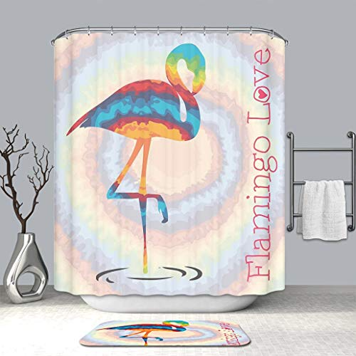 Custom Personalized Shower Curtain And Floor Mat Flamingo Single Flamingo Rainbow Colors Tie Dye Style Background Animal Waterproof Polyester Fabric Shower Curtain And Floor Mat Combination Set (Tie Dye Toothbrush)