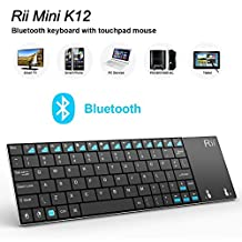 (Updated) Mini K12 Plus Stainless Steel Cover Wireless Keyboard with Built-in Large Size Touchpad and Rechargable Li-ion Battery for PC, Laptop, Raspberry PI 2, Smart TV, IPTV, Android Box (US Layout)