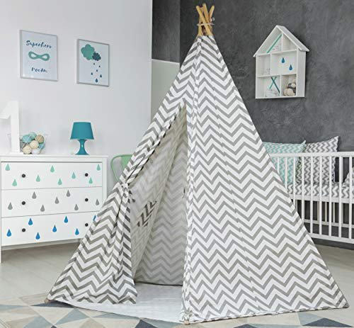 Large Cotton Blend Canvas Chevron Teepee Tent for Kids Teepee Tent Indoor Outdoor | Play Tent 7 Feet Tall - 5 Poles | Customizable Cotton Tent | Childrens Teepee Tents for Girls and Boys Kids Tipi