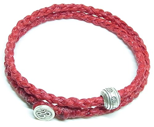 BUSABAN Asian Handmade Wrap Bracelet 925 Silver Beads OHM Button Red Braided Wax String ()