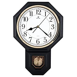Traditional Schoolhouse Easy to Read Pendulum Wall Clock Chimes Every Hour With Westminster Melody Made in Taiwan, 4AA Batteries Included ( PP0258-2W Matt. Black)