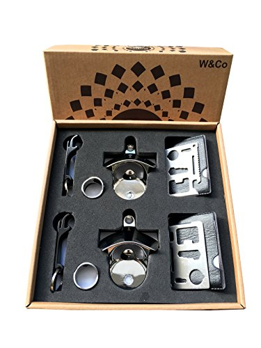 W&Co Bottle Opener Set of 8 Includes 2 Wall Opener 2 Ring Opener 2 Credit Card Opener 2 Key Chain Opener with Gift Box