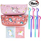 Sgift Unicorn School Supplies Gift Set for Kids-Pencil Case Stationery Pouch Bags 2pack+Unicorn pens 6pack+Unicorn Sticky Notes 2pack,Pen Gift Set Kids Birthday,Christmas Unicorn Gifts