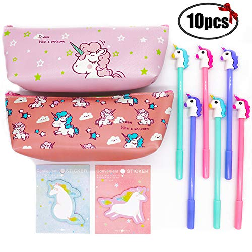 Sgift Unicorn School Supplies Gift Set for Kids-Pencil Case Stationery Pouch Bags 2pack+Unicorn pens 6pack+Unicorn Sticky Notes 2pack,Pen Gift Set Kids Birthday,Christmas Unicorn Gifts by Sgift