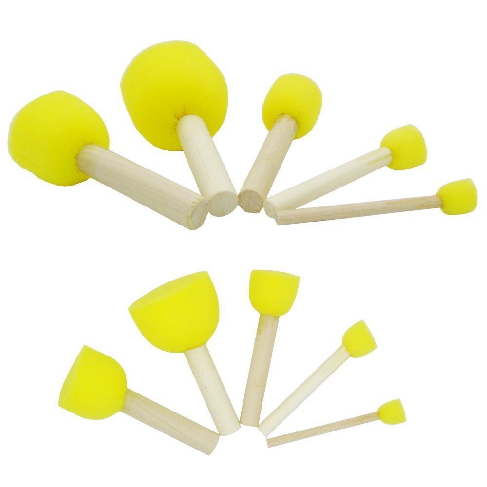 Boloniprod 20 Pcs Round Stencil Sponge Wooden Handle Foam Brush Furniture Art Crafts Painting Tool Supplies Painting Stippler Set DIY Painting Tools in 5 Sizes for Kids (Style 1) by Boloniprod