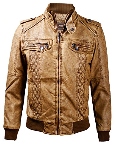 Men's Vintage Pu Leather Motorcycle Rider Bomber Jacket Small Camel