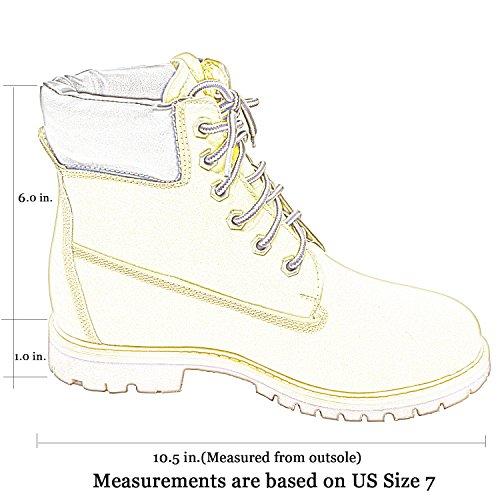 Generación Y Mujeres Botines Lace Up Tobillo Acolchado Zapatos De Trabajo De Senderismo Tan Tan