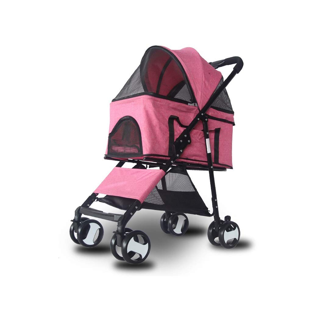 Pink Dog Stroller Easy Walk Folding Travel Carriage for Pets & Cats with Detachable Carrier (color   Pink)