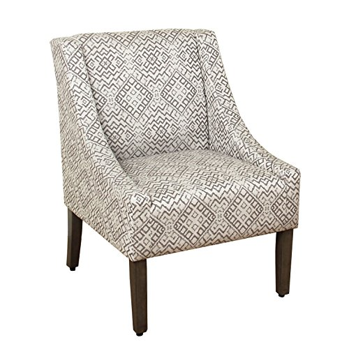 HomePop Swoop Arm Accent Chair, Gray Geometric