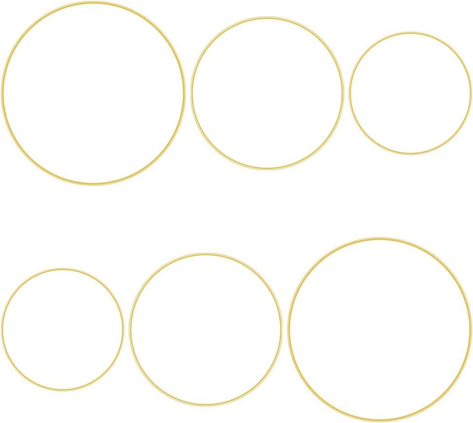 6 Pcs Metal Floral Hoop 3 Sizes(10,12 & 14 inch) Gold Catcher Wreath Macrame Metal Rings for DIY Christmas Wreath Dream Catcher Decor