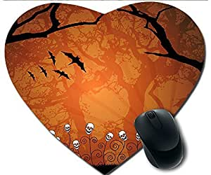 Hot Heart-Shaped Comfortable Mouse Pad - Customizable Printed On Halloween Bats Skeleton Tree Durable Cool Game Mouse Pad by icecream design