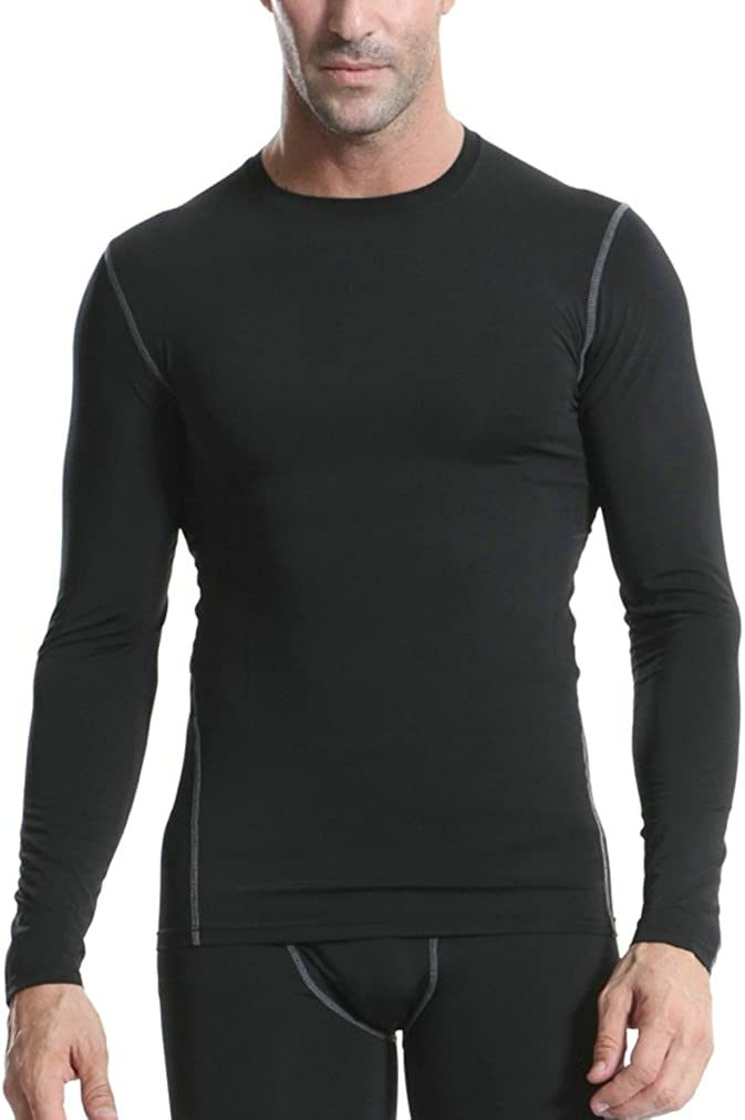 TuGui Mens Sports Fitness Running Long Sleeve Tight Quick-Drying T-Shirts