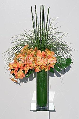 Orquídea Artificial Tropical Melocotón Y Bambú Mesa Arreglo