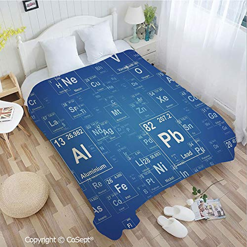 Lightweight Cozy Flannel Blanket,Chemistry Tv Show Inspired Image with Periodic Element Table Image Print Art,Perfect for Camping,Picnic & the Beach with a Waterproof(55.11