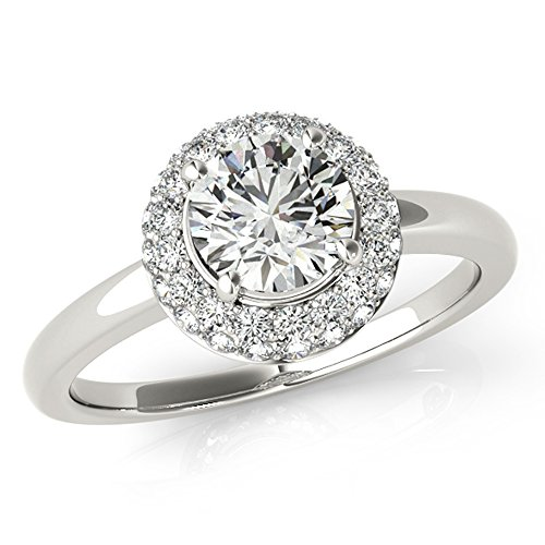 Unique Plain Shank Double Halo Forever Brilliant Moissanite & Diamond Engagement Ring 1 3/4 Ctw