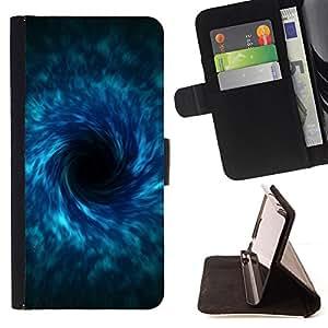 For Sony Xperia Z1 L39 - black hole sci fi blue /Funda de piel cubierta de la carpeta Foilo con cierre magn???¡¯????tico/ - Super Marley Shop -
