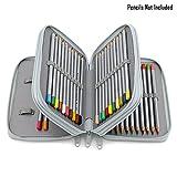 BTSKY® Handy Portable Colour Pencil Case-- 48 Slots Watercolor Pencil Bag with Zipper (Grey)