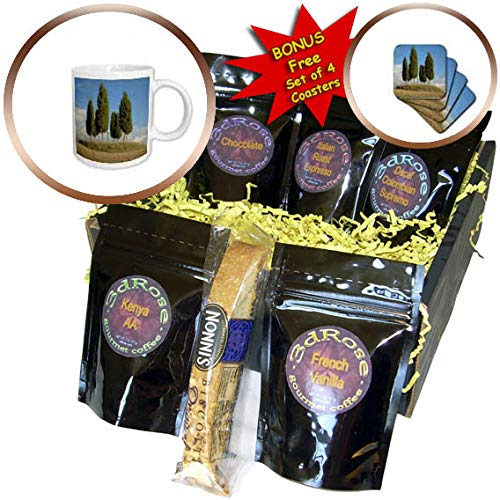3dRose Danita Delimont - Tuscany - Tree circle and memorial cross on hill, Tuscany, Italy - Coffee Gift Basket (cgb_313694_1)