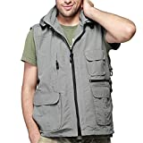 LANMWORN Men Summer Autumn Cool Outdoor Fishing Camping Travel Mesh Vest, 8 Pockets Military Quick Dry Hunting Thin Camo Gilet Coat.