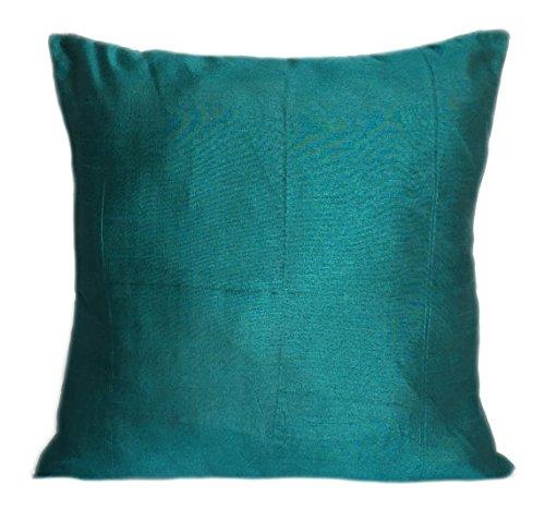 Set of 2 Dark Teal Art Silk Pillow Covers, Plain Silk Cushion Cover, Solid Color Dark Teal Throw Pillow, (18x18 inches, Dark Teal) (Throw Silk Cushion)
