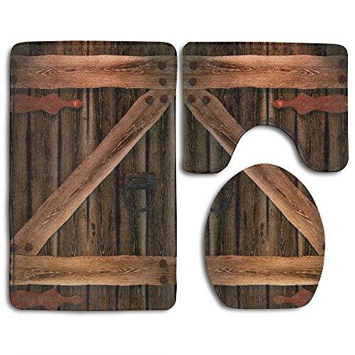 Coolsome Rustic Country Barn Wood Door Set Non-Slip Bathroom Mat Set Lid Toilet Cover Pedestal Rug. (Bathroom Sets Country)