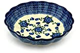 Polish Pottery Bowl 11-inch Blue Poppies