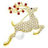 DMI Christmas Jewelry Cute Rhinestone Simulated Pearl Reindeer Brooches Pins Xmas Gifts Gold-Color