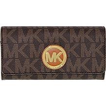 Michael Kors Women's Logo Charm Leather Wallet Baguette - Brown