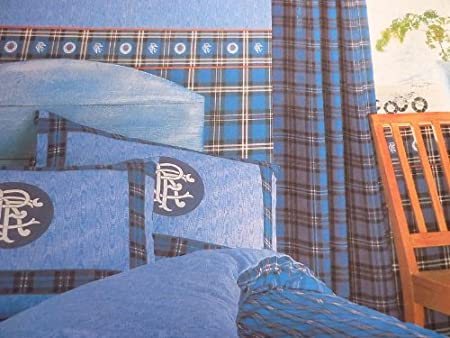 The Rangers Collection Blue Curtains Pair Amazon Co Uk Kitchen Home