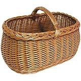 Weidenkorb mit Tragebügel (45 x 21 x 30 cm) - handlicher Einkaufskorb aus Weide