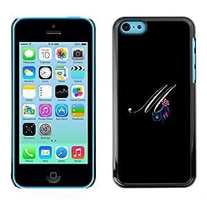 [Neutron-Star] Snap-on Series Teléfono Carcasa Funda Case Caso para iPhone 5C [Negro Iniciales de la letra de la caligrafía del texto]