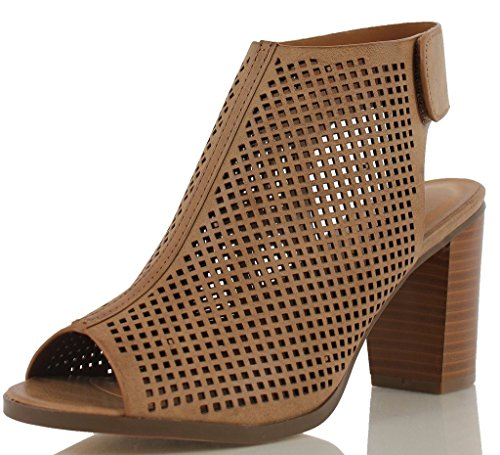 City Classified Women's Roadway Faux Leather Peep Toe Laser Cut Out Slingback Stacked Heels Tan 9