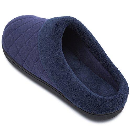 Confort Des Hommes Matelassé Mousse Mémoire Doublure Polaire Doublure Maison Chaussons Glisser Sur Sabot Chaussures Maison Nouveau Style - Bleu Marine