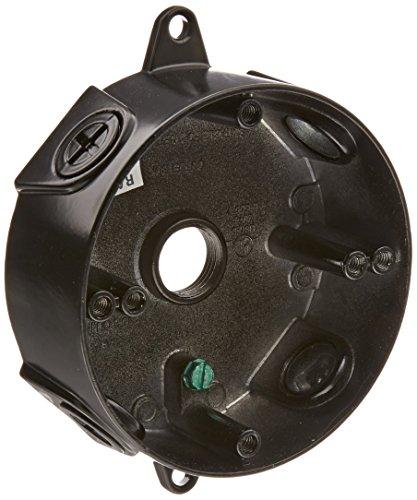 "RAB Lighting VXCB Weatherproof Round Box with No Cover, Aluminum, 1/2"" Hole Size, Black"