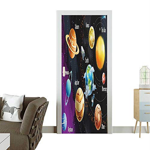Door Sticker Wall Decals Solar System of Planets Milk Way Neptune Venus Mercury Sphere Horiztal Illus Easy to Peel and StickW38.5 x H79 INCH -