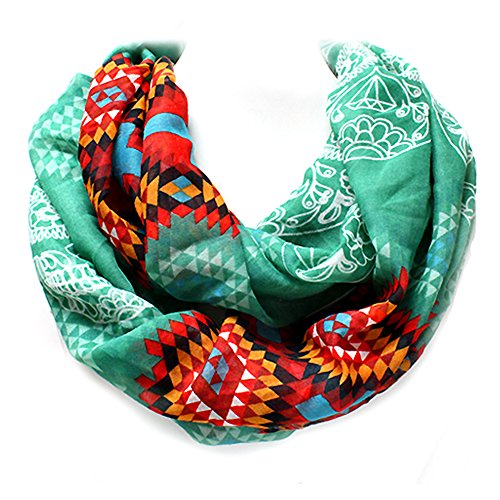 Black, Turquoise, or Goldenrod Tribal Sugar Skull Western Infinity Style Scarf from the WYO-HORSE Jewelry Collection (Turquoise)