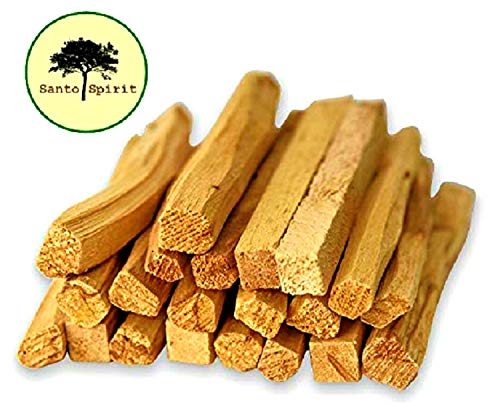 (Santo Spirit Palo Santo Holy Wood Incense Smudge Sticks - 20 Pack Free Bonus 3 Palo Santo Incense Cones | 100% Natural | Hand Cut | High Resin | Sustainably Sourced | Clears Negative Energy)